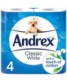 Andrex White Toilet Paper Classic Clean 4 Rolls PM £2.50 x 6