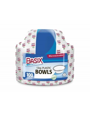 Basix Plastic Plates 12oz (350ml) 100's x 8