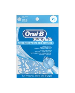 Oral B Complete Floss Picks Icy Cool Mint 75s x 24