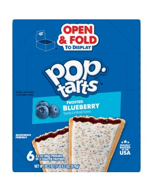 Kellogg's Pop-Tarts Frosted Open & Fold Display Blueberry Pastry 2-Pack x 6
