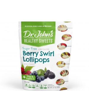 Dr. John's Healthy Sweets Sugar Free Berry Swirl Lollipops 10's x 12