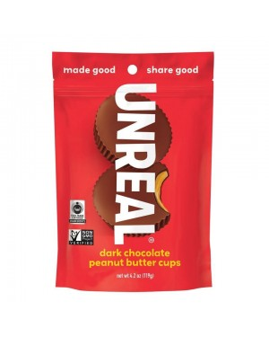 Unreal Candy Dark Chocolate Peanut Butter Cup Bags 4.2oz (119g) x 6