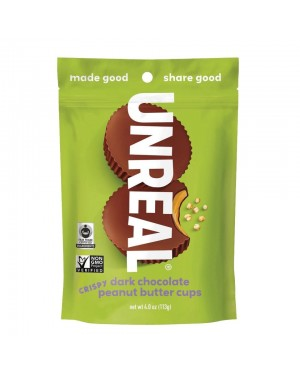 Unreal Candy Dark Chocolate Peanut Butter Cup With Crispy Quinoa 4oz (113g) x 6
