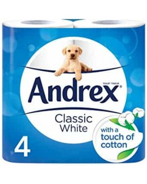 Andrex White Toilet Paper Classic Clean 4 Rolls PM £2.25 x 6