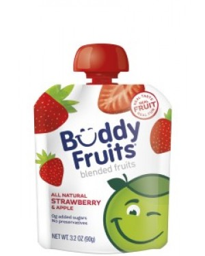 Buddy Fruits Pure Blended Apple Strawberry Snack 3.2oz (90g) x 18