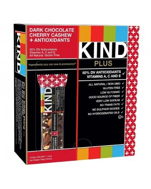 Kind Plus Bars Dark Chocolate Cherry Cashew + Antioxidants Gluten Free 40g x 12