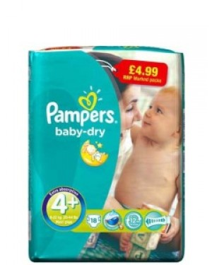 Pampers Size 4+ PM £4.99 18s x 8