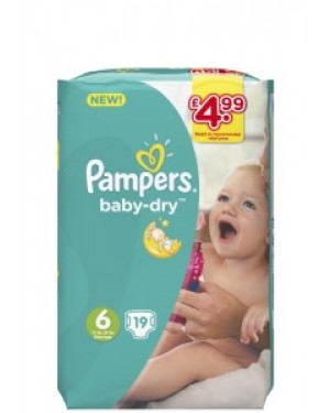 Pampers Size 6 PM £4.99 19's x 4