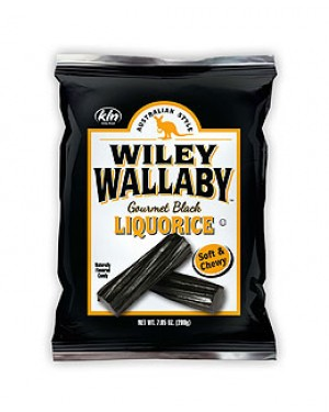 Wiley Wallaby Black Aussie Liquorice 7.05oz (200g) x 12