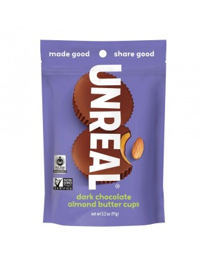 Unreal Candy Dark Chocolate Almond Butter Cups Bag 3.2oz (91g) x 6